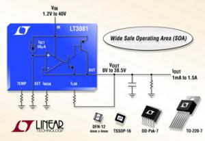 Robuste régulateur linéaire (40V | 1,5A) doté des gestionnaires d'intensité et de tempéra