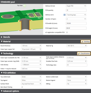 L'outil Price calculator du service Standard pool.