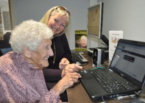 Skype's the limit - 100 year old Doris speaks to her friend