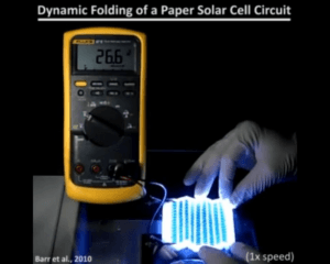 Foldable array of solar cells printed on a sheet of paper