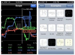 Circuit design/simulator app runs on iPhone, iPad and MacOS