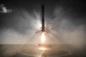 A SpaceX Falcon 9 rocket landing on the drone ship after a successful space flight on 14 January 2017.  Photo courtesy of SpaceX. Public domain.