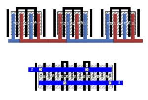 Unterschied der Kontakt-Metallisierung dreier Transistoren zwischen alter und neuer Geometrie. Bild: Purdue University