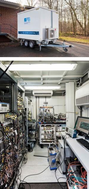 Ein Anhänger, gespickt mit Hightech-Physik: die transportable optische Uhr der PTB. (Abb. PTB)