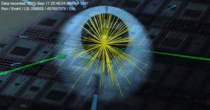 """Ein Kandidat für ein """"Higgs di-photon event"""" vor einem Hintergrund von Quantenprozessoren. (Fotomontage: CERN/CMS-Experiment und M. Spiropulu/Caltech)"""