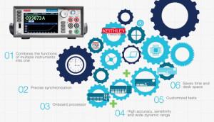 Statt 4 Messgeräte: 1 Source Measure Unit kombiniert DMM, Spannungs- und Stromquelle sowie elektronische Last