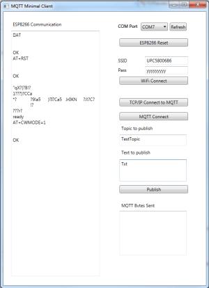 Benutzeroberfläche des MQTT-Clients.