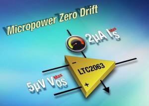 Zero-Drift-Opamp zieht nur 1,3 μA bei 1,8 V. Bild: Analog Devices.