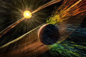 Künstlerische Grafik illustiert, wie der Mars durch Sonnenwind Gas verliert. Bild NASA/GSFC