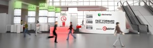 Elektor-Stand beim Eingang Ost (Animation).