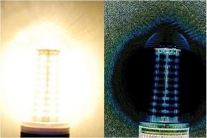 À droite, les contours du luminaire à LED traités par l'algorithme PST sont bien visibles.
