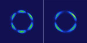 Lichtpatronen gegenereerd door een kristal op basis van rhenium: links de normale variant, rechts de 3D quantum-variant (foto © Hsieh Lab / Caltech).