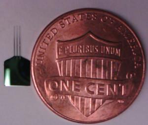 De nieuwe sondes zijn veel kleiner dan een dollarcent (foto: Roukes Lab/Caltech).