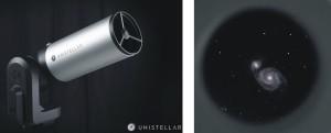 De kleine en gemakkelijk te transporteren eVscope presteert even goed als veel grotere instrumenten, dankzij de ingebouwde beeldversterker (foto's: Unistellar Optics).