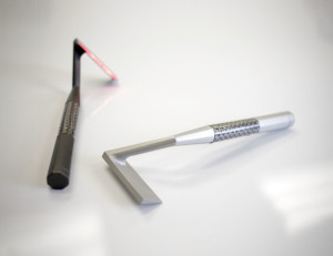 Twee prototypes van de Skarp Laser Razor