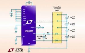 Autonome loodaccu-balancer voor vier accu's