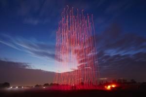Zwerm drones zorgt voor lichtspektakel