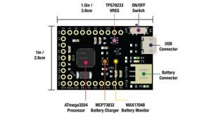Qduino Mini: Arduino-compatibel board met geïntegreerde acculader
