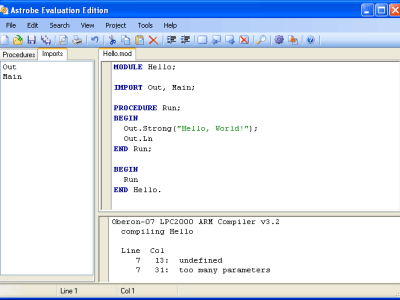 The Astrobe IDE could not compile the program because of a typing error; Out.Strong should have been spelt Out.String.