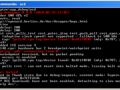 Figure 4. OpenOCD following acceptance of a GDB connection. It's not very clear, so we've put some of the more interesting details in red.