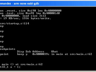 Figure 5. Text-mode debugging using GDB.