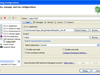 Figure 8. Configuring Eclipse's debugger, first tab.