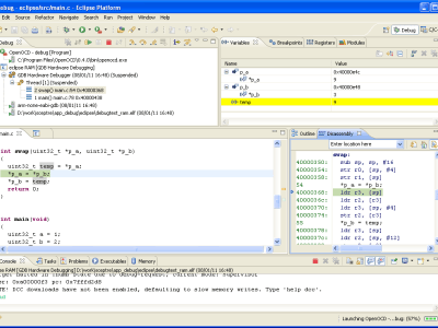 Figure 11. Debugging with all options using Eclipse (Helios 3.6.0 with CDT).