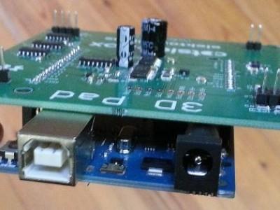 Main board mounted on an Arduino Uno.