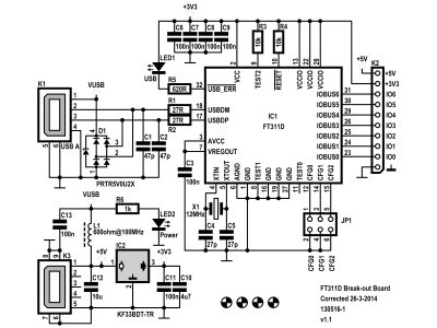 Schematic of the FT311D break-out board v1.1