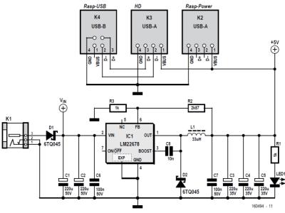 Circuit diagram of RPi + hard disk power supply