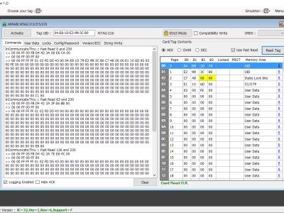 Software screen showing commands sent o PN532