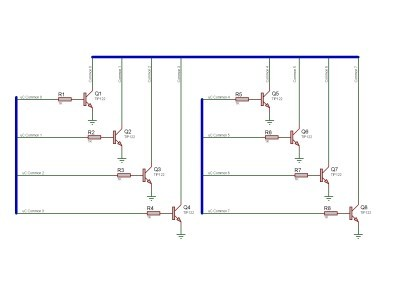 Common driver using TIP122 Darlington transistors