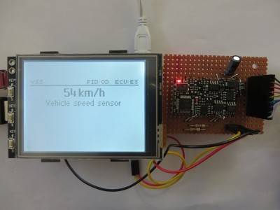 """DXM add-on breadboard attached to Pi 3 with 3.2"""" touchscreen"""