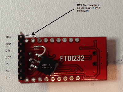 As requested by Scanboostar a pic of the modified FTDI module (I know, not very nice soldering, but working :-)