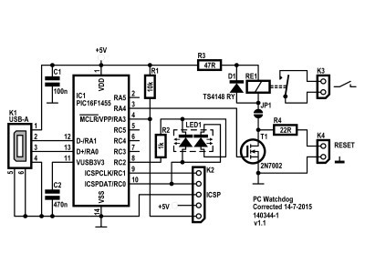 Schematic of PC Watchdog 140344-1 v1.1