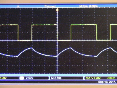 The upper signal is the output from the a-stable multi. -  The lower signal is the output from the sawtooth circuit