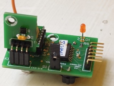 Transmitter carrying the SHT21 sensor board. Battery is mounted on the bottom side