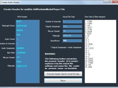 Bild 2: In diesem Fenster kann ein wav-header erzeugt oder editiert werden