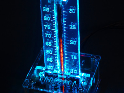 With transparent enclosure, blue scale backlighting
