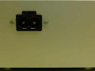 View on the mains connector of the power supply
