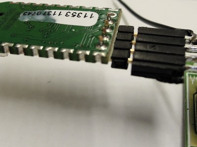 A USB-FT232R breakout-board connected for testing