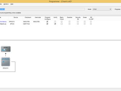 Screendump programming the FPGA