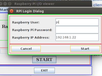 De gebruikersnaam, IP adres en paswoord voor het raspberry board invullen.