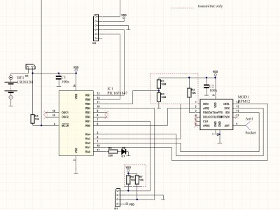 Schematics are almost identical for transmitter and receiver....