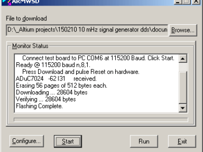 Screendump of program ARMWSD.exe after programming of controller is completed