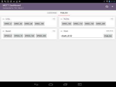 Screenshot tablet of MQTT client