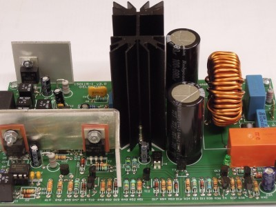 Side view on protection circuit of 200W Class-D Audio Power Amplifier 150115-1 v2.1