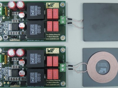 Transmitter and receiver with WPC coils connected (PCB 160199-1 v1.0)