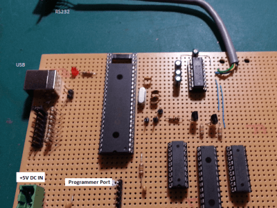 Veroboard with PIC, USB, RS232 and Expander