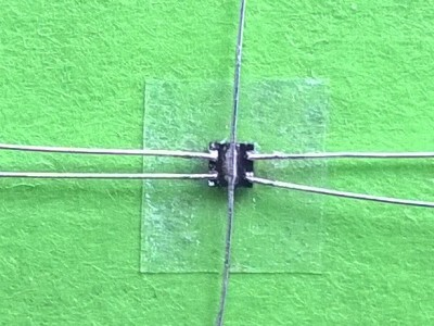 AWG 30 wires from a litz wire soldered to the chip
